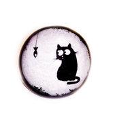 Anello in resina con immagine gatto e pesciolino bianco e nero
