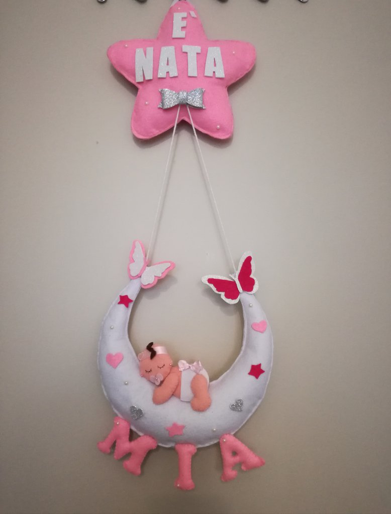 Fiocco nascita coccarda pannolenci feltro bebè neonato neonata stella luna nome è nata
