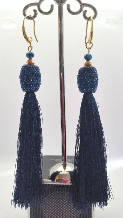 Orecchini Dangle Earring blue and gold