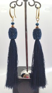 Orecchini Dangle Earring blue and gold