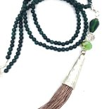 Long necklace green jade tassel grey powder