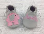 Scarpine ecopelle grigia Elefantino personalizzate con nome - Bimba 3-6 mesi