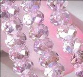 10 Perle perline  decorative divisori spaziatori sfaccettate colore ROSA 6x4 mm