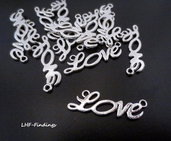 "1 Charm/connettore ""LOVE"" color argento (33x10mm) (cod. new)"