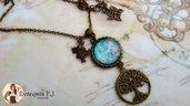 Collana bronzo albero della vita cabochon farfalla celeste cielo fiori bigiotteria bijoux