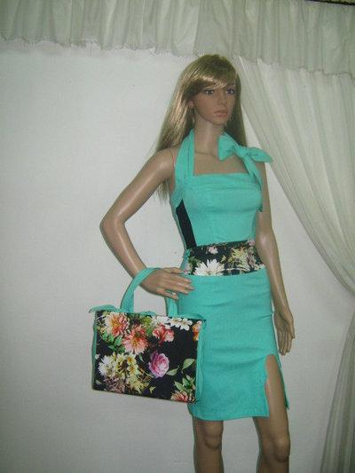 Piccola borsa da donna verde fiore