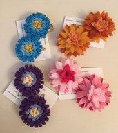 mollettine per capelli decorate con fiori di feltro