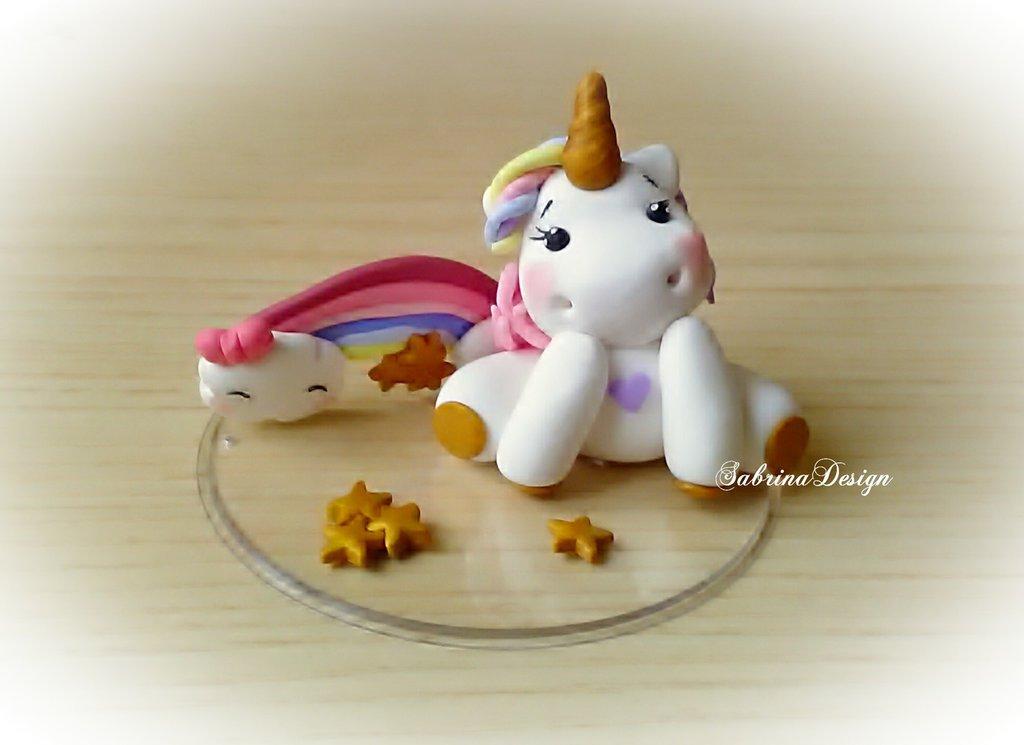 Cake topper unicorno arcobaleno e stelle torta nascita battesimo comunione compleanno