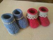 Scarpine stivaletti in lana rosse o azzurre, idea regalo