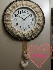 Orologio da parete fatto a mano in tessuto stile shabby