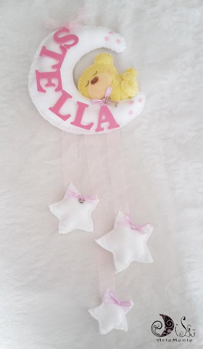 Fiocco nascita luna e stelle bianche con orsetto custode dei sogni per bimba
