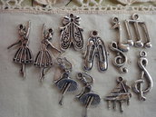 10 Ciondoli Musica in metallo color argento