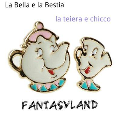 """Orecchini """"la teiera e chicco"""" ispirati alla Bella e la Bestia"""