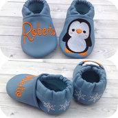 Scarpine ecopelle Pinguino personalizzate con nome - Bimbo 3/6 mesi