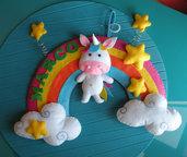 ARCOBALENO annuncio - ghirlanda - fiocco nascita - unicorni - birth wreath - unicorn