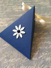 Scatolina porta confetti battesimo bambino matrimonio blu con nastrino
