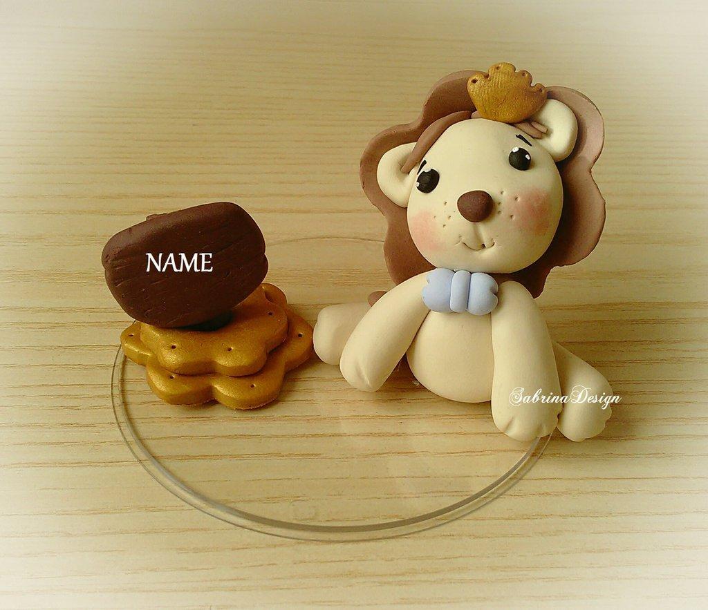 Cake topper leone torta animali nascita battesimo comunione compleanno