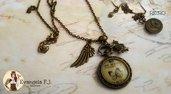 Collana steampunk ali orologio coniglio cammeo farfalla bigiotteria alternative alice meraviglie vintage