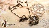 Collana steampunk ingranaggi bronzo vintage cosplay bigiotteria accessori bijoux gioielli