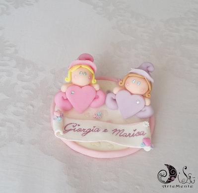Cake topper follette con cuore speciale gemelle, decorazione torta con pergamena personalizzabile spciale gemelline