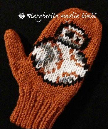 Manopole/guanti bambino BB-8 Star Wars lana merino fatte a mano