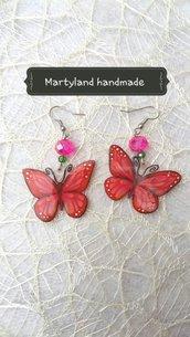 Orecchini farfalle rosse e rosa