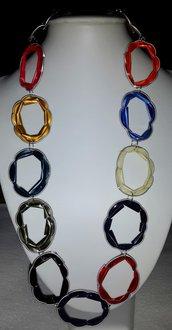 Collana ovale multicolore con cialda di caffe