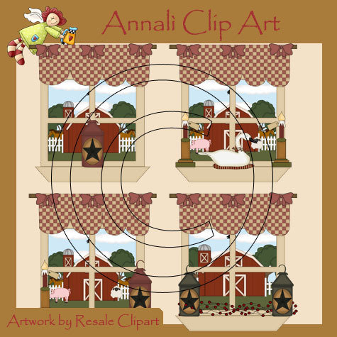 Finestra Country Natale - Clip Art per Scrapbooking e Decoupage - Immagini