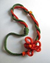 SCIARPANA arancio-verde con fiorellini