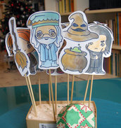 Cupcake toppers HARRY POTTER, decorazioni buffet e dolcetti per party, baby shower, compleanno, set 10 pezzi