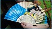 """Ventaglio di carta rinforzata e bambù a tema """"Si alza il vento"""" Studio Ghibli"""
