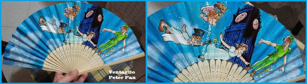 "Ventaglio di carta rinforzata e bambù a tema ""Peter Pan"" ."