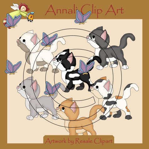 Cuccioli di Gatto con Farfalla - Clip Art per Scrapbooking e Decoupage - Immagini