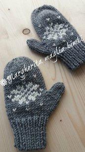 Manopole/guanti bambino/bambina fiocco di neve - pura lana - fatti a mano