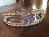 Foglia bassa, in colore trasparente e oro , ricambio per lampadari di Venini, Mazzega, Maria Teresa , con pezzi rotti,  in vetro soffiato di Murano
