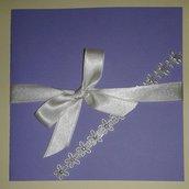 Partecipazione matrimonio nozze color lavanda con strass
