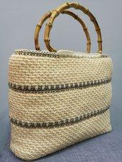Borsa uncinetto cordino swan idea regalo bag shopping fatto a mano