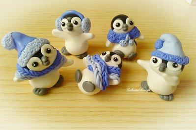 Cake topper pinguini inverno torta animali nascita battesimo comunione compleanno cupcake topper