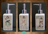Dispenser per sapone liquido decorato in fotoceramica su tre lati con immagini in stile vittoriano