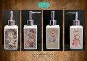 Dispenser per sapone liquido decorato in fotoceramica sui quattro lati con immagini vittoriane