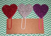 Set di Clips Decorative - Accessori per Scrapbooking e Planner - Heart Glitter Version^^