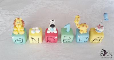 Cake topper cubi Multicolor primo compleanno giungla personalizzato 6 cubi 6 lettere Andrea