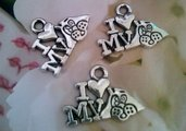 I LOVE MY DOG - AMO CANE - CHARMS - CIONDOLO - ARGENTO - MATERIALE