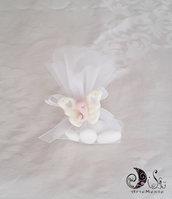 Bomboniera prima comunione farfalla calamita cuoricini rosa per bimba completa