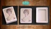 Scatolina rettangolare in fotoceramica decorata con volto femminile ottocentesco su sfondo pergamena