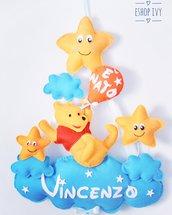Fiocco nascita winnie tre Pooh personalizzato con nome bimbo