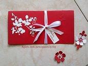 Partecipazione. Matrimonio. Rosso. Bianco . Motivo floreale.