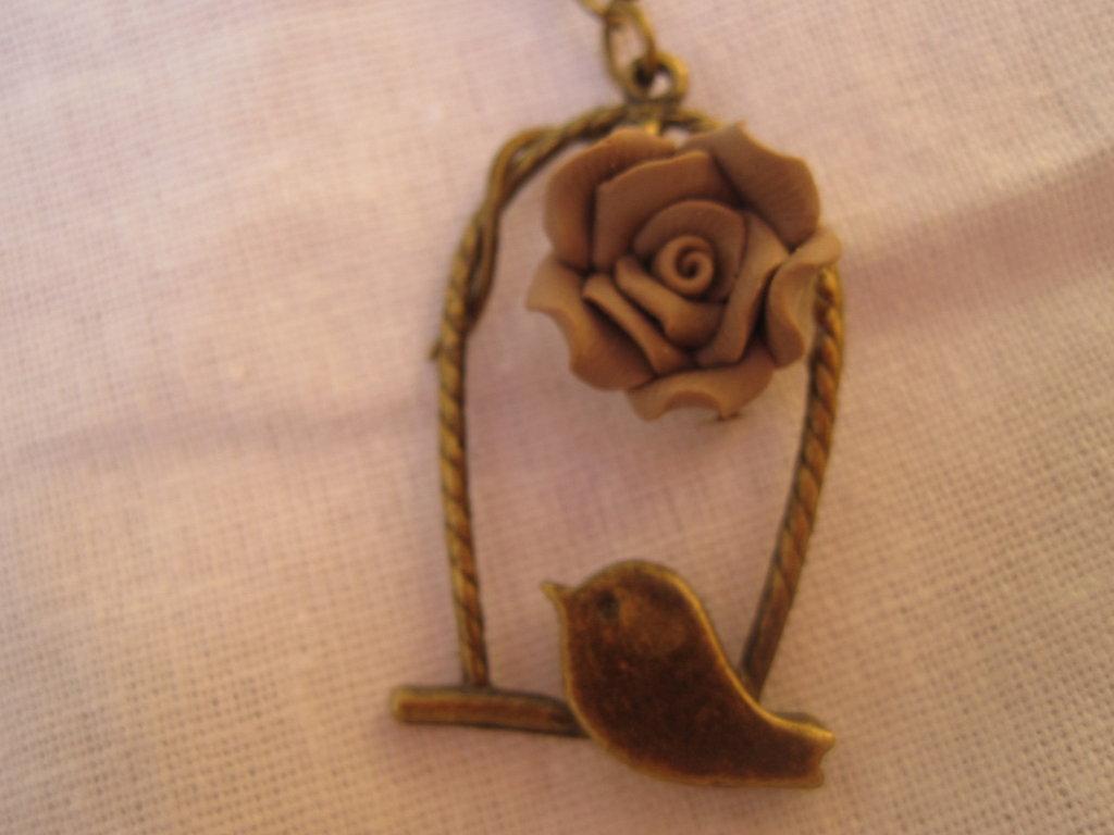 collana OLD TIMES con gabbia e fiore