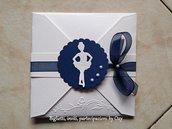 Partecipazione. Matrimonio. Blu. Ballerina. Danza