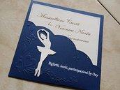 Partecipazione. Matrimonio. Blu. Ballerina.
